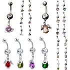 Women Saturn Waterdrop Wing Rhinestone Navel Belly Bar Button Ring Body Piercing