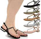 Ladies Womens Flat Ankle Strap Studs Flip Flop T-Bar Toe Post Sandals Shoes Size