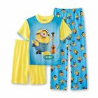 Illumination Entertainment Boys Pajama Top Shorts Pants 3 piece Set size 6 8 NEW