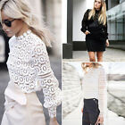 Hot Women Lace Blouse Tops T-Shirt Long Sleeve Casual Shirt Loose Pullovers USPE