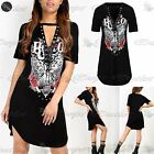 Womens Ladies Lace Up Plunge Choker V-Neck Longline Tunic T-Shirt Mini Dress