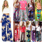 Women Floral Casual High Waisted Wide Leg Palazzo Loose Boho Long Trousers Pants