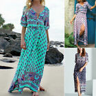 Boho Women's Crew Neck Vintage Cotton Long Maxi Dress Summer Ladies Beachwear
