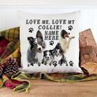 Personalised Blue Merle Border Collie Puppy Love Cushion Cover Throw Pillow Gift