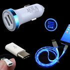 Car Charger+Micro LED USB Cable+Type C Converter for Samsung Galaxy S8 Plus