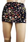 NEW HOT BLACK  PRINTED  WOMEN LADIES  FITTED MICRO MINI SKIRT SIZE 6 TO 18