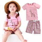 "Vaenait Baby Kids Girls Sleepwear Clothes Short Outfit set ""Giffy Pink"" 12M-7T"