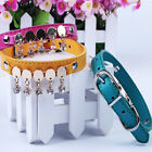 3 Colors Leather Pet Puppy Dogs Collar with Bell Adjustable Rhinestone Collar