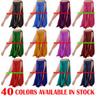 40 COLORS  Belly Dance Satin 2 Slit Skirt Panel Gypsy Long Maxi Dress Costumes