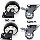 4x Heavy Duty 50mm & 100mm Rubber PU Swivel Castor Wheels Trolley Caster Brake