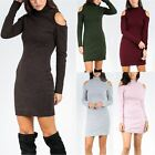Ladies Womens Knit Marl Tunic Turtle High Neck Bodycon Cold Shoulder Mini Dress