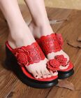 Toe-ring Flower Hollow Out Platform Shoes Block Chunky Heel Slippers Slides C-86