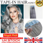 "Best 5A Quality 16""-24"" Tape In Grey 100% Remy Human Hair Extensions Grade 5A UK"