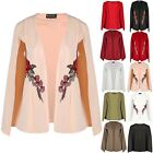 Womens Open Front Rose Embroidered Side Split Double Layer Blazer Coat Cape Top