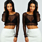 Women Lady Crop Top Black Mesh Lace Fishnet Long Sleeve Stretch Vest T Shirt CH