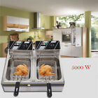 6/11/12 Liter Electric Countertop Deep Fryer Dual Tank Commercial Restaurant photo