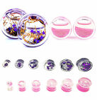 CHIC Pair Liquid Filled Ear Plugs Flesh Tunnels Gauges Double Flared Saddle