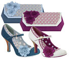 Ruby Shoo Matching Poppy Mary Jane Pumps & Kyoto Bag Blue Floral / Ivory Plum