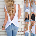 Sexy Womens Backless Tank Tops Sleeveless T-Shirt Twist Vest Summer Loose Blouse