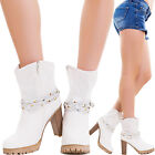 Boots texan woman strap buckle strass shoes perforated new B16313