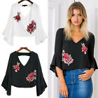 CHIC Fashion Women's Summer Long Sleeve Loose Blouse Casual Shirt Tops T-Shirt