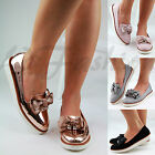 New Womens Flat Casual Loafers Slip On Brogue Bow Embellished Pumps Comfy Shoes
