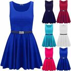 Girls Kids Sleeveless Round Neck Belted Franki Flared Swing Skater Mini Dress