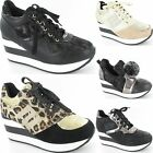 Ladies Womens Concealed Wedge Trainer High Platform Lace Up Sneaker Shoe Size
