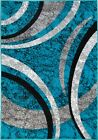 Blue Rug Mat Abstract Modern Design Teal Grey Silver Soft Stain Resistant