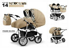 Twin Pram 3in1 Pushchair Double Buggy Twins 2 x Car Seats + 2x Isofix base