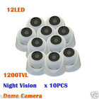 (10)3.6MM Lens 1200TVL 12LED Day/Night Vision IR-CUT CCTV Wired Mini Dome Camera