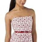 NWT Jean Paul Gaultier DRESS Strapless Sheath with Belt RED / WHITE EYELET Lined