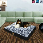 Waterproof Dog Bed Pillow Mat Zipper Cover Red/Blue Plaid Dog Paw Patten L- XXXL