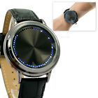 Luxury Blue White LED Touch Screen Real Leather Fashion Wrist Watch E007 $15.5 USD