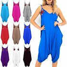 Womens Camisole Strappy Flower Embroidery Lagenlook Italian Drape Harem Jumpsuit