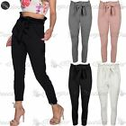 Womens Ladies Pockets Skinny Satin Tie Knot Office Pants Jogging Trouser Joggers