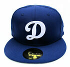 """LA Dodgers Blue with White """"D"""" Logo Fitted Cap Hat All Sizes MLB New Era"""