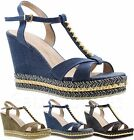 Ladies Womens High Platform Wedge Studded Espadrilles Strappy Sandals Shoes Size