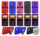 For ZTE MAX XL / N9560 Heavy Duty Hard Hybrid Armor Case Cover + Glass Screen