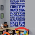 LARGE CHILDREN TOYS QUOTE IN THIS PLAYROOM RULES WALL STICKER TRANSFER