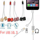 New 2 in 1 Lightning to Dual Headphone Adapter Charge Cable For iPhone 7/7 Plus
