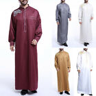 Men's Saudi Thobe Robe Islamic Muslim Jubba Arabic Kaftan Abaya Dress Costumes