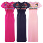 WOMENS 100% COTTON  LONG NIGHTDRESS LADIES NIGHTY CHEMISE EMBROIDERY DETAILED