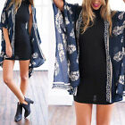 Women's Summer Beach Flower Leaf Print  Kimono Cardigan Blouse Cover up Dazzling