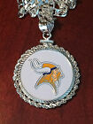 STERLING SILVER PENDANT W/ HAND PAINTED NFL MINNESOTA VIKINGS SETTING - JEWELRY on eBay