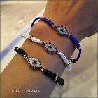 NEW RED BLUE WHITE BLACK PAVE CRYSTAL EVIL EYE ROPE BOLO SLIDER BRACELET