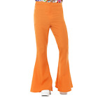 Adult Mens Orange 70s Disco Flares Flared Trousers Fancy Dress Costume Accessory