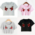 UK Womens Summer Casual Floral Short Sleeve Embroidery T Shirt Crop Tops Blouse