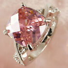 Classic Womens Tourmaline Pink CZ Silver Plated  Wedding Band Ring Size 6 7 8