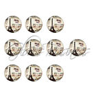 10pcs 1 inch Round Retro Glass Cabochons Dome Flat Back Fit Cameo Settings